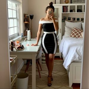 Black & White Off the Shoulder Classy Dress